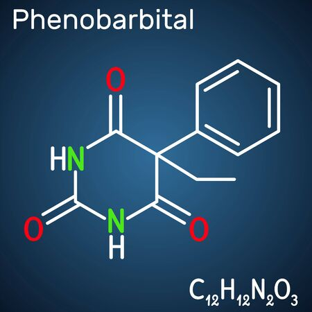 Phenobarbital, phenobarbitone or phenobarb, C12H12N2O3  molecule. It is a medication for the treatment of epilepsy. Structural chemical formula on the dark blue background. Vector illustration 일러스트