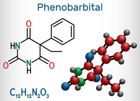 Phenobarbital, phenobarbitone or phenobarb, C12H12N2O3  molecule. It is a medication for the treatment of epilepsy. Structural chemical formula and molecule model. Vector illustration Illustration
