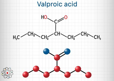 Valproate, VPA, valproic acid molecule. It is anticonvulsant and antiepileptic drug. Structural chemical formula and molecule model. Sheet of paper in a cage. Vector illustration