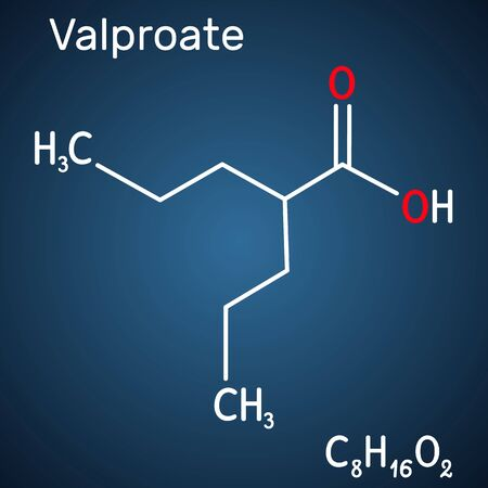 Valproate, VPA, valproic acid molecule. It is anticonvulsant and antiepileptic drug. Structural chemical formula on the dark blue background. Vector illustration