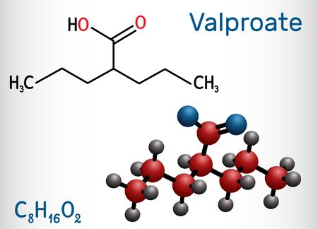 Valproate, VPA, valproic acid, sodium valproate molecule. It is anticonvulsant and antiepileptic drug. Structural chemical formula and molecule model. Vector illustration