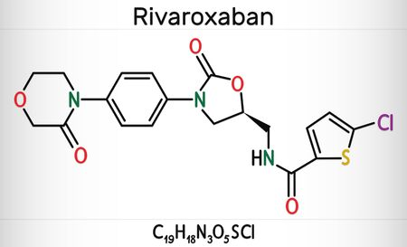 Rivaroxaban molecule. It is an anticoagulant and the orally active direct factor Xa inhibitor. Skeletal chemical formula. Illustration 스톡 콘텐츠