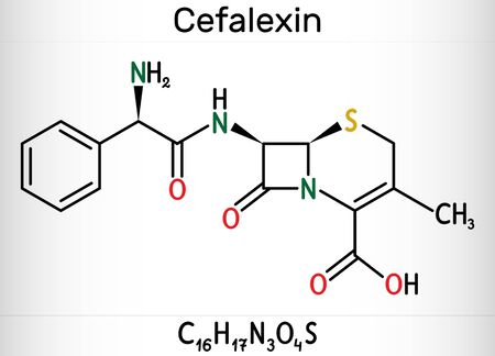 Cefalexin, cephalexin, C16H17N3O4S molecule. It is a beta-lactam, first-generation cephalosporin antibiotic with bactericidal activity. Skeletal chemical formula. Illustration 스톡 콘텐츠