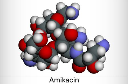 Amikacin, C22H43N5O13 molecule. It is aminoglycoside antibiotic, it exerts activity against more resistant gram-negative bacteria. Molecular model. 3D rendering illustration 스톡 콘텐츠