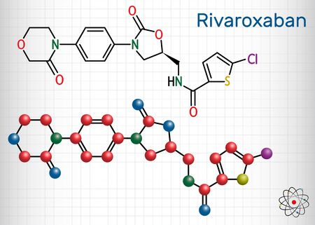 Rivaroxaban molecule. It is an anticoagulant and the orally active direct factor Xa inhibitor. Structural chemical formula and molecule model. Sheet of paper in a cage. Vector illustration