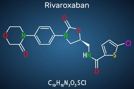 Rivaroxaban molecule. It is an anticoagulant and the orally active direct factor Xa inhibitor. Structural chemical formula on the dark blue background. Vector illustration Illustration