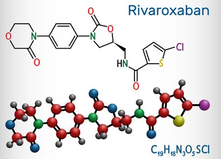 Rivaroxaban molecule. It is an anticoagulant and the orally active direct factor Xa inhibitor. Structural chemical formula and molecule model. Vector illustration
