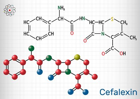 Cefalexin, cephalexin, C16H17N3O4S molecule. It is a beta-lactam, first-generation cephalosporin antibiotic with bactericidal activity. Structural chemical formula and molecule model. Sheet of paper i 일러스트