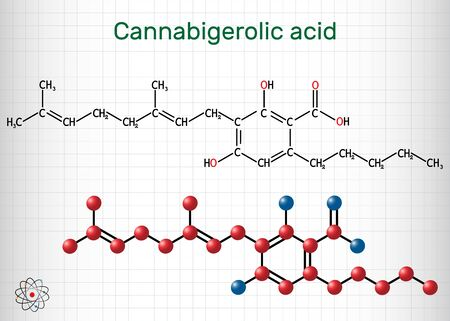 Cannabigerolic acid, CBGA,  molecule. It is cannabinoid, precursor tetrahydrocannabinolic acid THCA, cannabidiolic acid CBDA, cannabichromenic acid CBCA. Sheet of paper in a cage. Structural chemical