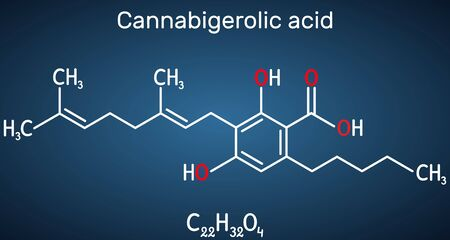 Cannabigerolic acid, CBGA,  molecule. It is cannabinoid, precursor tetrahydrocannabinolic acid THCA, cannabidiolic acid CBDA, cannabichromenic acid CBCA. Structural chemical formula on the dark blue b 일러스트
