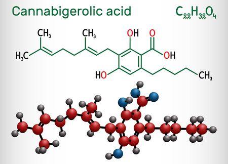 Cannabigerolic acid, CBGA,  molecule. It is cannabinoid, precursor tetrahydrocannabinolic acid THCA, cannabidiolic acid CBDA, cannabichromenic acid CBCA. Structural chemical formula and molecule model 일러스트