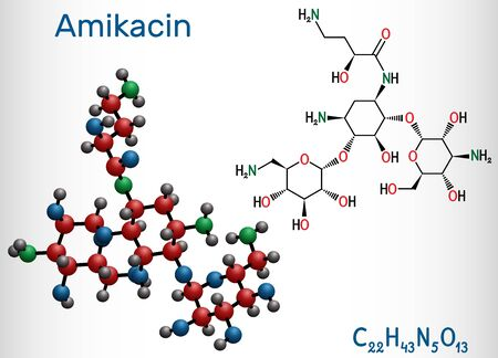 Amikacin, C22H43N5O13 molecule. It is aminoglycoside antibiotic, it exerts activity against more resistant gram-negative bacteria. Structural chemical formula and molecule model. Vector illustration