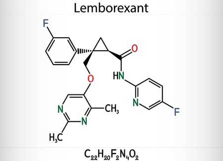 Lemborexant, C22H20F2N4O2 molecule. It is dual orexin receptor antagonist used in the treatment of insomnia.  Skeletal chemical formula. Illustration