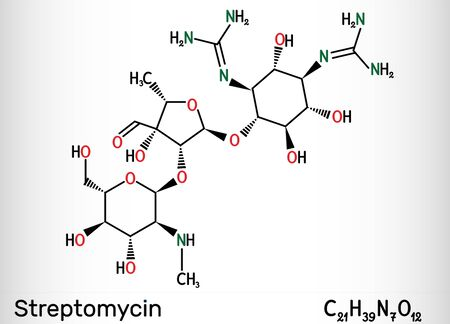 Streptomycin, C21H39N7O12 molecule. It is an aminoglycoside antibiotic. Skeletal chemical formula. Illustration 스톡 콘텐츠
