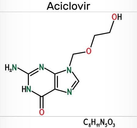 Aciclovir, acyclovir, ACV, antiviral agent, C8H11N5O3 molecule. It is used to treat herpes simplex, Varicella zoster, herpes zoster. Skeletal chemical formula. Illustration