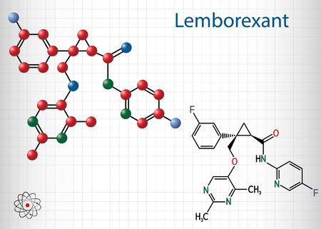 Lemborexant, C22H20F2N4O2 molecule. It is dual orexin receptor antagonist used in the treatment of insomnia. Structural chemical formula and molecule model. Sheet of paper in a cage. Vector illustration