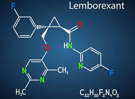 Lemborexant, C22H20F2N4O2 molecule. It is dual orexin receptor antagonist used in the treatment of insomnia. Structural chemical formula on the dark blue background. Vector illustration 일러스트