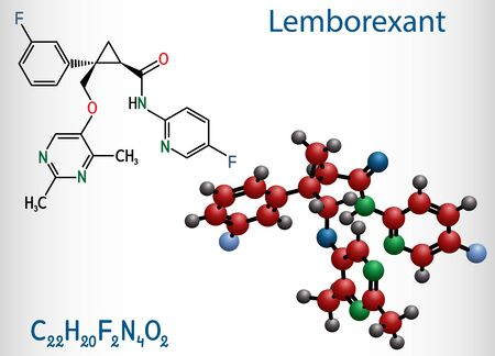 Lemborexant, C22H20F2N4O2 molecule. It is dual orexin receptor antagonist used in the treatment of insomnia. Structural chemical formula and molecule model. Vector illustration