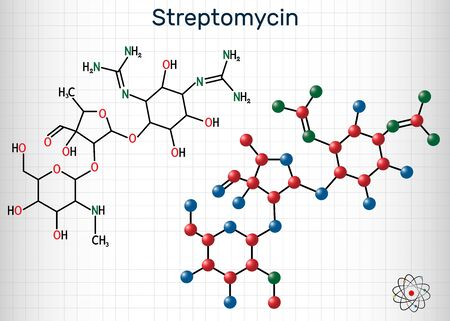 Streptomycin, C21H39N7O12 molecule. It is an aminoglycoside antibiotic. Structural chemical formula and molecule model. Sheet of paper in a cage. Vector illustration