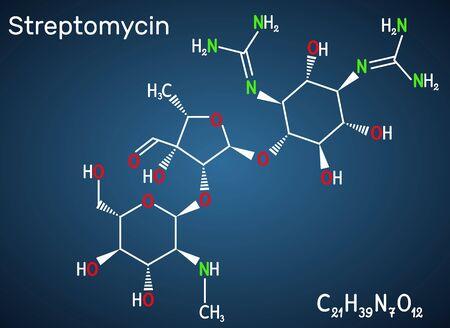 Streptomycin, C21H39N7O12 molecule. It is an aminoglycoside antibiotic. Structural chemical formula on the dark blue background. Vector illustration