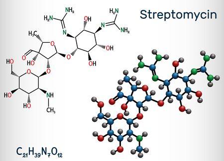 Streptomycin, C21H39N7O12 molecule. It is an aminoglycoside antibiotic. Structural chemical formula and molecule model. Vector illustration