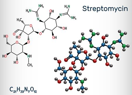 Streptomycin, C21H39N7O12 molecule. It is an aminoglycoside antibiotic. Structural chemical formula and molecule model. Vector illustration