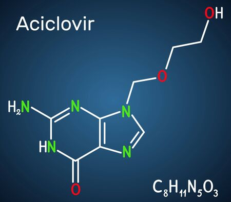 Aciclovir, acyclovir, ACV, antiviral agent, C8H11N5O3 molecule. It is used to treat herpes simplex, Varicella zoster, herpes zoster. Structural chemical formula on the dark blue background. Vector ill