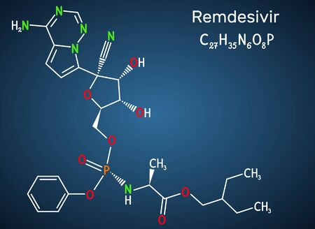 Remdesivir, GS-5734, C27H35N6O8P molecule. It is antiviral drug for treatment Ebola virus, under study as treatment for Coronavirus 2019-nCoV.  Structural chemical formula on the dark blue background.