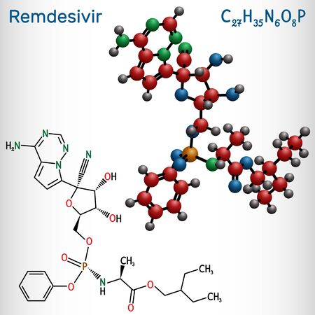 Remdesivir, GS-5734, C27H35N6O8P molecule. It is antiviral drug for treatment Ebola virus, under study as treatment for Coronavirus 2019-nCoV.  Structural chemical formula and molecule model. Vector i