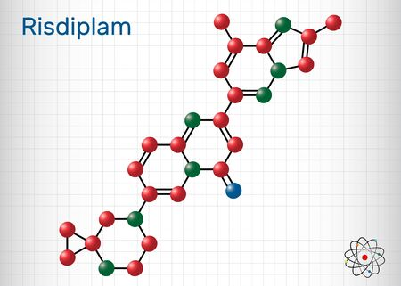 Risdiplam, RG7916, C22H23N7O molecule. It is an experimental drug for treatment spinal muscular atrophy, SMA. Molecule model. Sheet of paper in a cage. Vector illustration