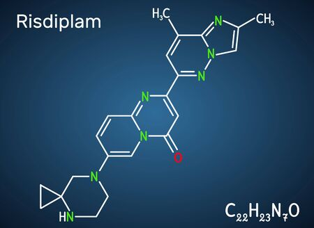 Risdiplam, RG7916, C22H23N7O molecule. It is an experimental drug for treatment spinal muscular atrophy, SMA. Structural chemical formula on the dark blue background. Vector illustration