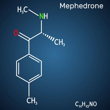 Mephedrone, 4-methyl methcathinone, 4-MMC, 4-methyl ephedrone, C11H15NO molecule. It is synthetic stimulant, entactogen drug of the amphetamine and cathinone classes. Structural chemical formula on th