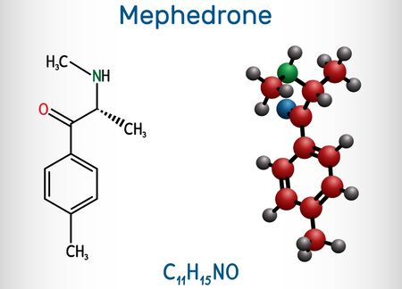 Mephedrone, 4-methyl methcathinone, 4-MMC, 4-methyl ephedrone, C11H15NO molecule. It is synthetic stimulant, entactogen drug of the amphetamine and cathinone classes. Structural chemical formula and m