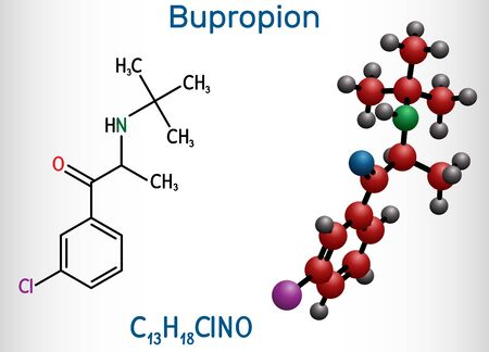 Bupropion, C13H18ClNO molecule. It is used for the treatment of Major Depressive Disorder (MDD), Seasonal Affective Disorder (SAD), smoking cessation. Structural chemical formula and molecule model. Vector illustration