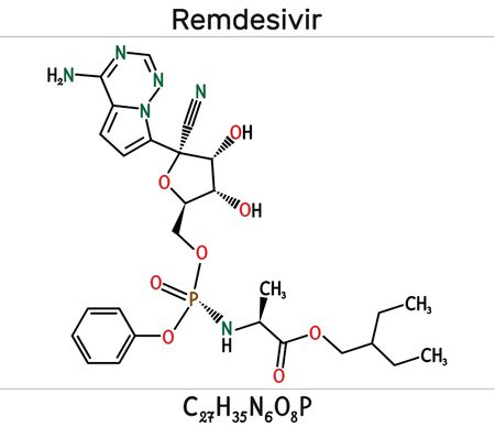 Remdesivir, GS-5734, C27H35N6O8P molecule. It is antiviral drug for treatment Ebola virus, under study as treatment for Coronavirus 2019-nCoV.  Skeletal chemical formula. Illustration