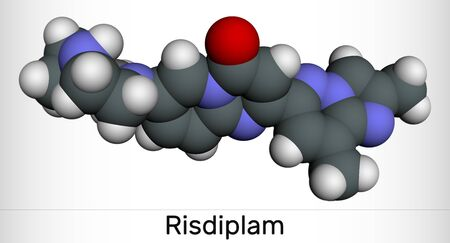 Risdiplam, RG7916, C22H23N7O molecule. It is an experimental drug for treatment spinal muscular atrophy, SMA. Molecular model. 3D rendering