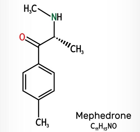 Mephedrone, 4-methyl methcathinone, 4-MMC, 4-methyl ephedrone, C11H15NO molecule. It is synthetic stimulant, entactogen drug of the amphetamine and cathinone classes. Skeletal chemical formula. Illust