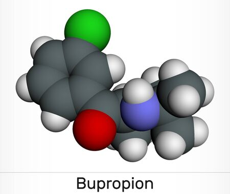 Bupropion, C13H18ClNO molecule. It is used for the treatment of Major Depressive Disorder (MDD), Seasonal Affective Disorder (SAD), smoking cessation. Molecular model. 3D rendering