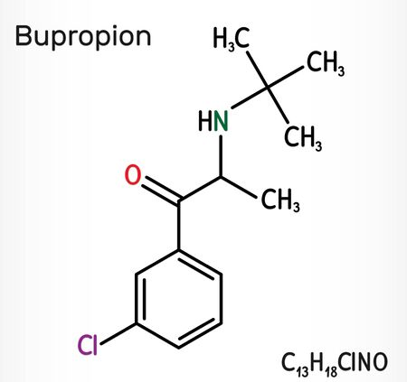 Bupropion, C13H18ClNO molecule. It is used for the treatment of Major Depressive Disorder (MDD), Seasonal Affective Disorder (SAD), smoking cessation. Skeletal chemical formula. Illustration 스톡 콘텐츠