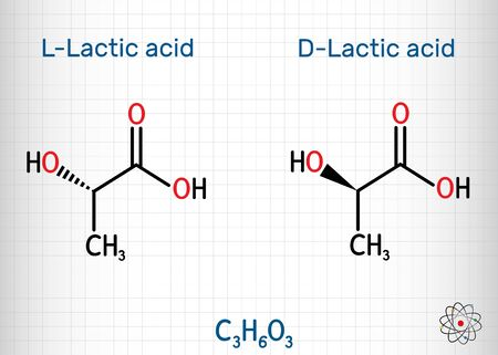L-Lactic acid and D-Lactic acid, lactate, milk sugar, C3H6O3 molecule. It is chiral, consisting of two enantiomers.  Structural chemical formula. Sheet of paper in a cage. Vector illustration
