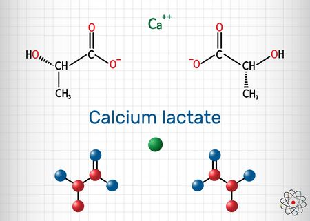 Calcium lactate, C6H10CaO6, lactate anion molecule. It is used in medicine to treat calcium deficiencies and as food additive E327. Sheet of paper in a cage.Vector illustration 일러스트