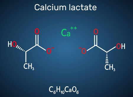 Calcium lactate, C6H10CaO6, lactate anion molecule. It is used in medicine to treat calcium deficiencies and as food additive E327. Structural chemical formula on the dark blue background. Vector illu 일러스트