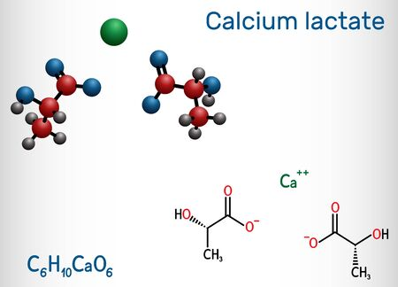Calcium lactate, C6H10CaO6, lactate anion molecule. It is used in medicine to treat calcium deficiencies and as food additive E327. Structural chemical formula and molecule model. Vector illustration