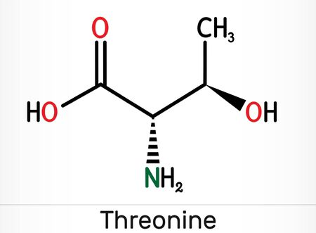 Threonine, L-Threonine, Thr, C4H9NO3 essential amino acid molecule. Skeletal chemical formula. Illustration