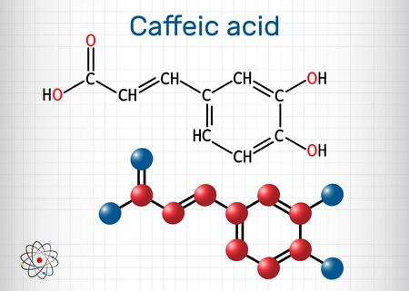 Caffeic acid, C9H8O4 molecule. It is hydroxycinnamic acid with antioxidant, anti-inflammatory, antineoplastic activities, is a key intermediate in the biosynthesis of lignin. Sheet of paper in a cage. Vector illustration