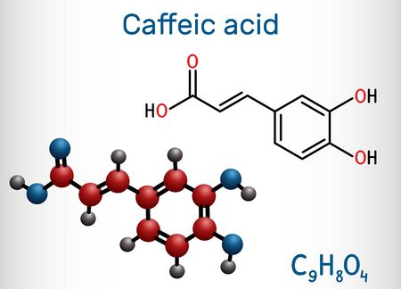 Caffeic acid, C9H8O4 molecule. It is hydroxycinnamic acid with antioxidant, anti-inflammatory, antineoplastic activities, is a key intermediate in biosynthesis of lignin. Structural chemical formula and molecule model. Vector illustration