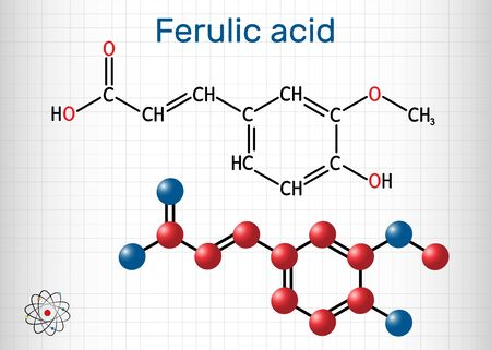 Ferulic acid, coniferic acid, C10H10O4 molecule. It is phenolic acid, an antioxidant, an anti-inflammatory agent, an apoptosis inhibitor, a cardioprotective agent. Sheet of paper in a cage. Vector illustration