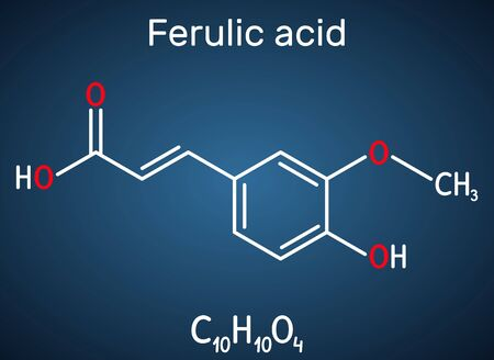 Ferulic acid, coniferic acid, C10H10O4 molecule. It is phenolic acid, an antioxidant, an anti-inflammatory agent, an apoptosis inhibitor, a cardioprotective agent. Structural chemical formula on the dark blue background. Vector illustration Ilustração