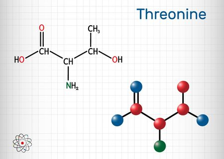 Threonine, L-Threonine, Thr, C4H9NO3 essential amino acid molecule. Structural chemical formula and molecule model. Sheet of paper in a cage. Vector illustration