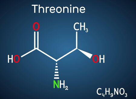 Threonine, L-Threonine, Thr, C4H9NO3 essential amino acid molecule. Structural chemical formula on the dark blue background. Vector illustration Illustration